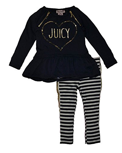 Juicy Couture Cotton Tunic (Juicy Couture Little Girls' 2 Piece Tunic and Striped Legging Set, Blue,)