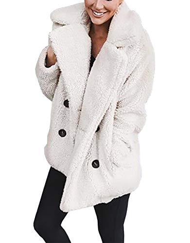 PRETTYGARDEN Women's Warm Long Sleeve Lapel Open Front Button Draped Fleece Coat Fluffy Outwear with Pockets]()