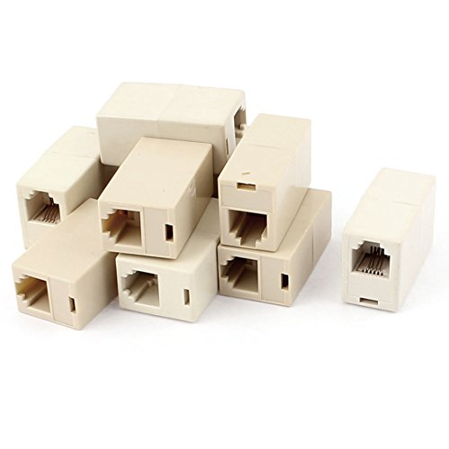 Aexit 10pcs 6P4C RJ11 Phone Line Coupler Connector Socket Adapter Khaki by Aexit