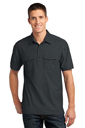 - Port Authority Oxford Pique Double Pocket Polo. K557 Black/ Monument Grey L