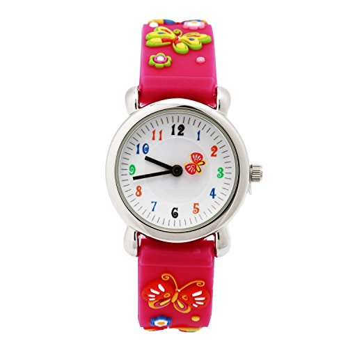 Jian Ya Na Lovely Cartoon Children Watch,Silicone Strap Digital Round Quartz Wristwatches for Girls Boys Kids