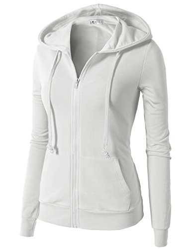H2H Women's Relaxed Lightweight Cotton Full Zip Up Hoodie Jacket White US...