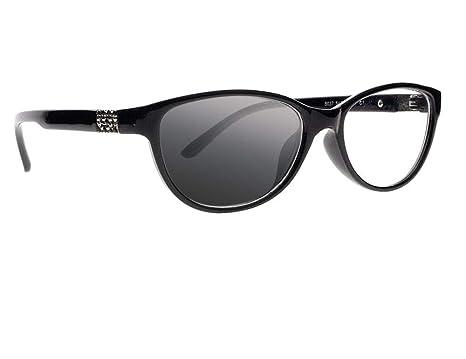 14dde1a579 Women Cat Eye Transition Photochromic Bifocal Rhinestones Readers Reading  Glasses Sunglasses (Black