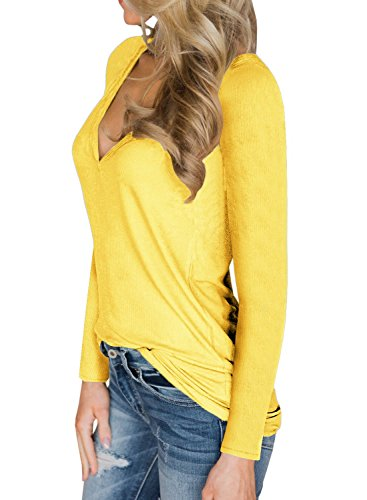 Dellytop Womens V Neck Henley Shirts Long Sleeve Button up Plain Tunic Tops Tees by Dellytop (Image #2)