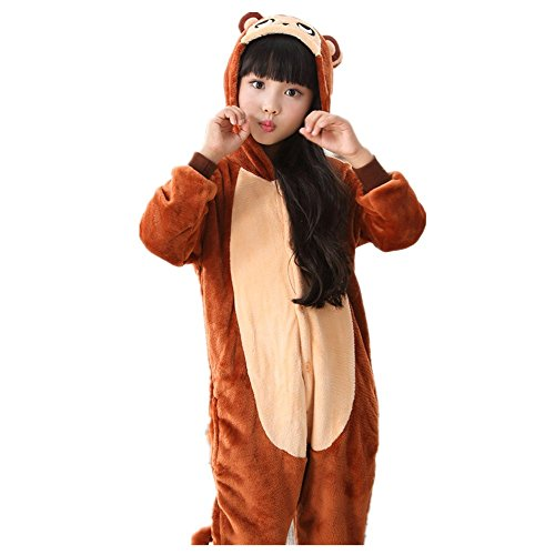 ABING Halloween Pajamas Homewear Onepiece Onesie Cosplay Costumes Kigurumi Animal Outfit Loungewear,Brown Monkey Chidren Size 85 -for Height 88-102cm by ABING