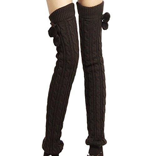 Fletion Damen Boots Strümpfe Winter Warme Legwarmers Kniestrümpfe Stricken Lange Leggings Socken (Schwarz)