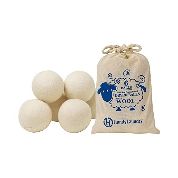Handy Laundry Wool Dryer Balls – Natural Fabric Softener, Reusable, Reduces Clothing Wrinkles and Saves Drying Time. The Large Dryer Ball is a Better Alternative to Plastic Balls and Liquid Softener.