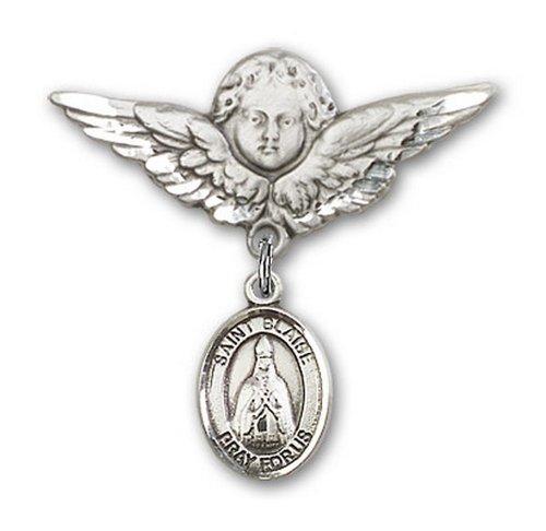 Icecarats Créatrice De Bijoux En Argent Sterling St. Broches Badge Blaise Charme D'Ange 1 1/8 X 1 1/8