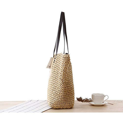 bag Tote Woven with Handbag Weaving trent Strap Beach Newest Women's Classic Summer Bag Shoulder Purse Hobo Brown Dark Straw Carry Leather PU Bags HRS0nxw