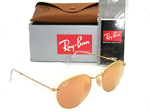 New Authentic Ray-Ban RB 3447 112/Z2 50mm Round Matte Gold / Brown Mirror - Gold Ray Round Pink Ban