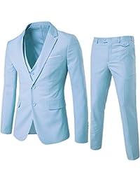 Men's Suit Slim Fit 2 Button 3 Piece Suits Jacket Vest & Trousers