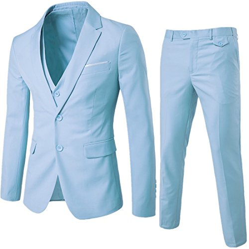 YIMANIE Men's Suit Slim Fit 2 Button 3 Piece Suits Jacket Vest & Trousers