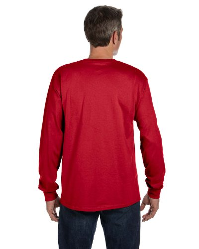 Hanes Mens Tagless Long-Sleeve T-Shirt With Pocket Deep Red