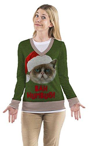 Faux Real Women's Bah Humbug Cat Ugly Sweater Long Sleeve T-Shirt - Medium