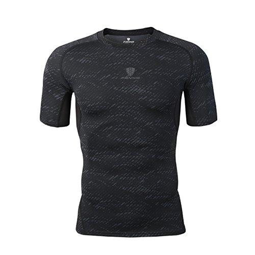 オピエート敬意を表するファックスBarrageonスポーツシャツ 半袖 コンプレッションウェア ストレッチ カジュアル UVカット 吸汗速乾 メンズ ブラック