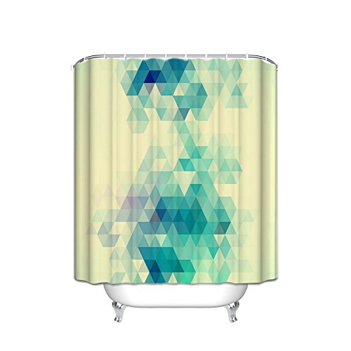 Mosaic Triangle Shower Curtain Geometric Decoration, Geometric Gradient Digital Texture With Mosaic Triangle Pattern Pixel Graphic Print, Bathroom With Hook,Mint Green Purple Yellow, 60X72 Inches