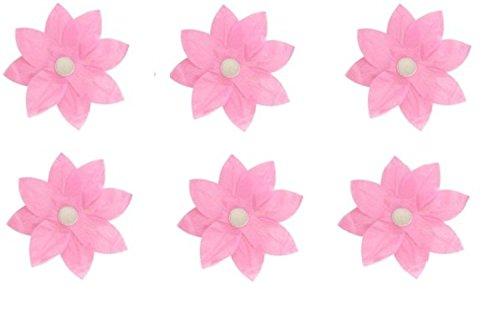 Flowers Wax Lantern - Pack of 6 Pink Floating Lotus Paper Flower Outdoor Patio Decor Lanterns