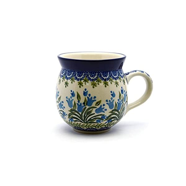Polish Pottery Mug–11Oz. Bubble–Blue Bells by Polish Pottery Gallery