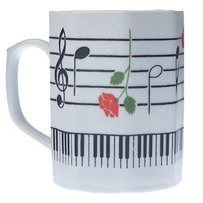 Gift House Music Keyboard Mug with Rose - Octagon Shape - House Mug Music