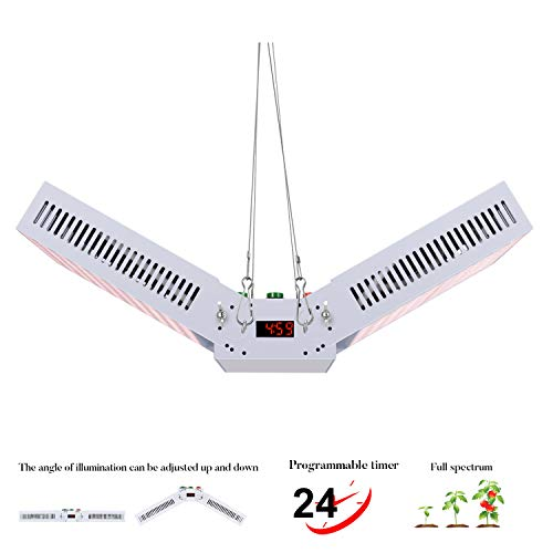 LED Grow Light 1000W Full Spectrum Indoor Plants LED Growing Lamp Digital Electric Timer Angle of Illumination Adjustable for Vegetables and Flowers
