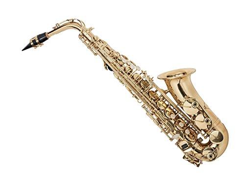 Eb Alto Saxophone Gold Lacquer Finish, Pad Saver, Neck Strap, Hard Case (609436) by Monoprice