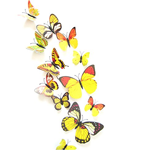 Amazon.com: Elife 3D PVC Colorful Butterfly Home Decor Wall Sticker ...
