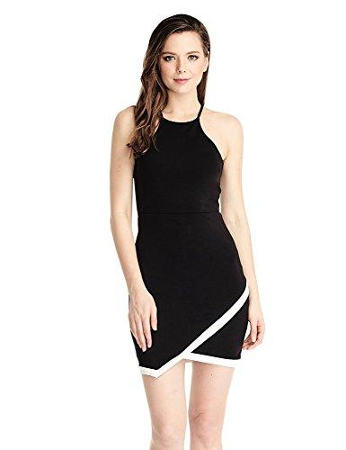 LookbookStore Vestido lápiz corto ajustado negro de mujer de LookbookStore con corte asimétrico en los dobladillos