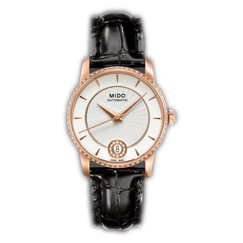 Mido Baroncelli II Silver Dial Leather Strap Ladies Watch M0072076603626