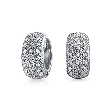 Bling Jewelry Crystal Magnetic Huggie Hoop Clip On Earrings Rhodium Plated - Magnetic Orecchini