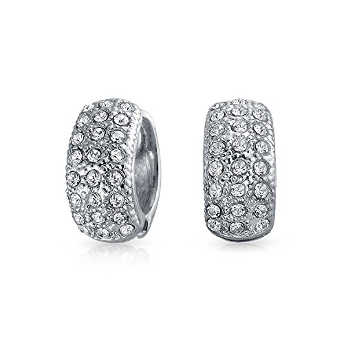 - Bridal Prom 3 Row Pave Crystal Dome Huggie Hoop Magnetic Clip On Earrings Non Pierced Ears Silver Tone Plated Alloy