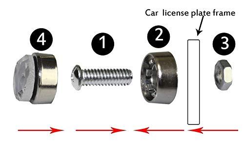 JUSHACHENGTA 8 Rows Handmade Bling Bling Rhinestones Stainless Steel Car License Plate Frame with Screws Caps-2 Pack