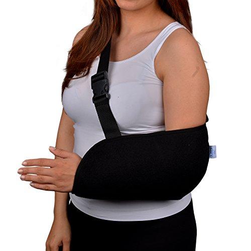 SolesUniversalArmschlinge mit weich gepolstertem Schultergurt(Erwachsener) - Atmungsaktiv, Comfort Fit mit verbesserter Ellbogen Schutz und Stabilität - Reduzieren Sie den Schmerz von Verletzungen & Boost Wiederherstellungsgeschwindigkeit - Unisex