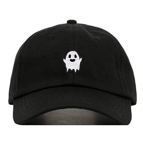 Ghost Dad Hat, Embroidered Baseball Cap, 100% Cotton, Unstructured Low Profile, Adjustable Strap Back, 6 Panel, One Size Fits Most (Multiple Colors) (Black)