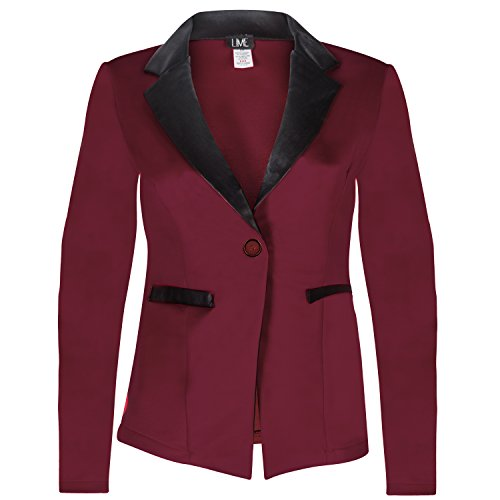 Contenta Women's Tuxedo Blazer. Dressy Long Sleeve PU Contrast Lapel Jacket. (large, (Party City Canada Careers)