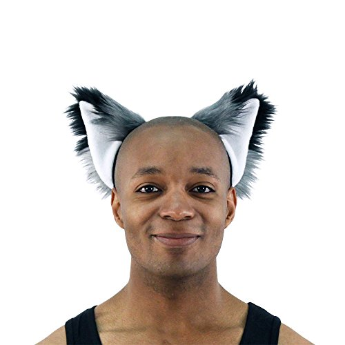 Pawstar Furry Fox Ears Headband Wolf Halloween Costume Adult - Gray