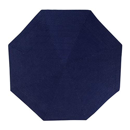 MISC Dark_Blue Octagon Rug 6Ft, Blue Braided Mat Reversible Geometric Carpet for Hallway Living Room, Polypropylene