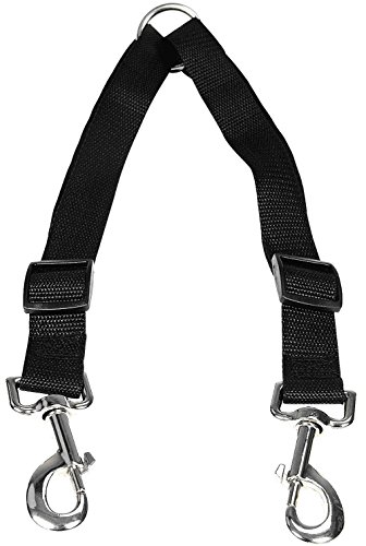 Retractable Chain Chrome Plated (IDEAPRO Dog Leash Coupler, No Tangle Double Leashes, Walk and Control 2 Dogs  (up to 66 lbs dogs), 1