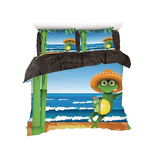 Flannel Duvet Cover Set 4 Pieces Bedlinen Winter Holiday for Bed Width 6ft Pattern by,Animal Decor,Illustration of a Frog on Sandy Beach with Palm Trees and Ocean Tropical Print,Green Blue ()