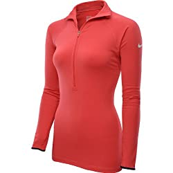 NIKE Womens Pro Hyperwarm Tipped 1/2-Zip Shirt (Xl, Fusion Red/white)