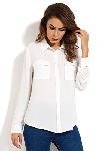 MRLZ Womens Casual Loose Button Down Blouse with Pockets Long Sleeve Chiffon Shirt