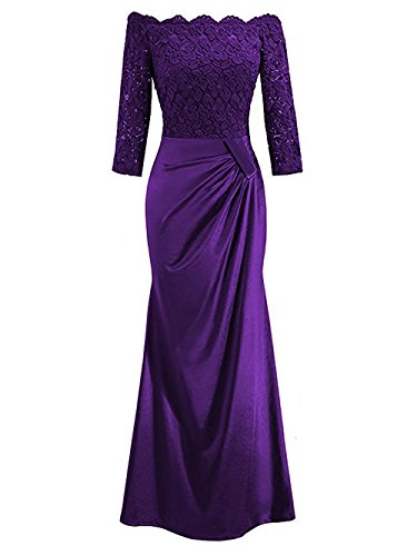 Honwenle Women Scallop Off Shoulder Ruched Plain Long Mermaid Evening Dress
