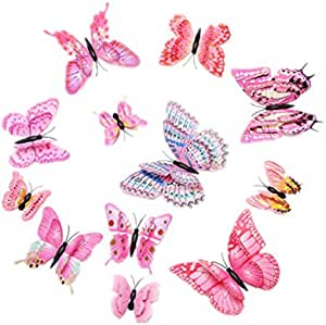 12PCS Pink Butterfly Wall Decals - 3D Butterflies Wall Stickers Removable Mural Decor Wall Stickers Decals Wall Decor Home Decor Kids Room Bedroom Decor Living Room Decor