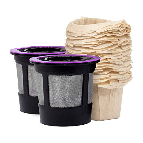 iPartsPlusMore Reusable K-Cup Filter Pods with Compatible Natural Paper Coffee Filter Inserts (2 pack pods + 25 ct filters) (Best Reusable K Cup For Stronger Coffee)