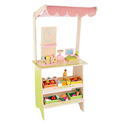 Hey! Play! Kids Fresh Market Selling Stand- Wooden Grocery Store Playset with Toy Cash Register, Scale, Pretend Credit Card & 31 Food Accessories