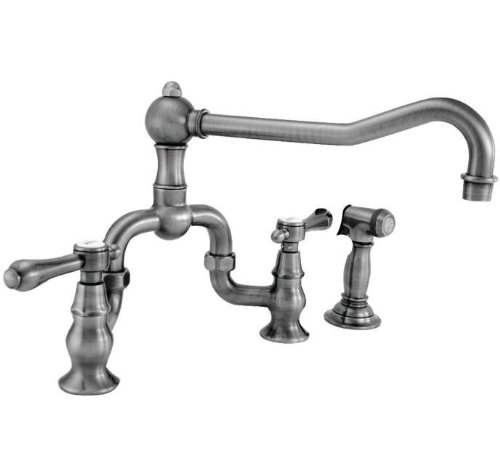 Newport Brass 9453-1 Chesterfield Double Handle Bridge Kitchen Faucet with Side, Polished ()