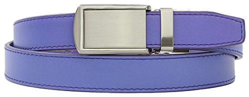 Lavender Skinny Belt with Silver Buckle