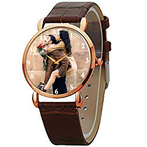 HHI Best Anniversary/Birthday Gift for Husband/Boyfriend | Unique and Useful Diwali Present | Personalised Brown Strap Analog Wrist Watch Gifts for Him