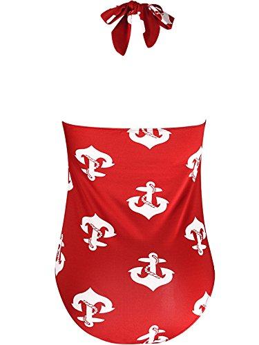 da Lace Bikini bagno da Un Rosso Bigassets Donna Halter Costumi bagno pezzo Costume Up Stampato Sn41xqvZxX