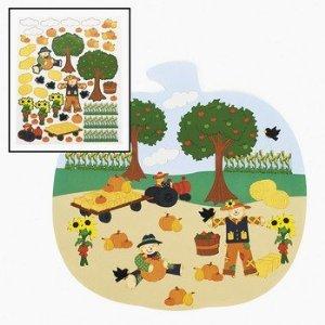 (Fun Express Pumpkin Patch Shaped Sticker Scene-fall Sticker Activity-halloween Sticker)
