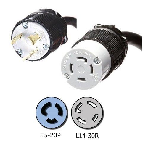 NEMA L5-20P to L14-30R Plug Adapter - 1 Foot, 20A/125V, 1...
